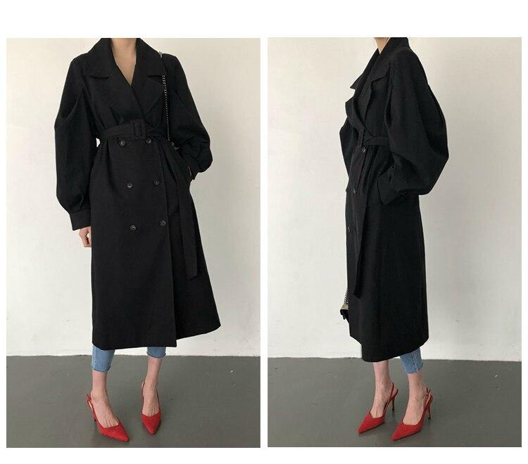 Windbreaker Women Trench Coat Belt Waist 19 Autumn Double Breated Oversize Long Coat Lady Streetwear Korean Outwear 9