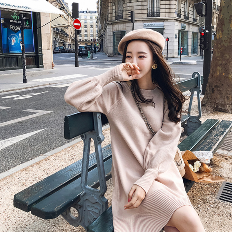 New Spring Korea Dress Women Knitting Oversize Autumn Midi Dress Lantern sleeve Fashion Sweater Dresses 26