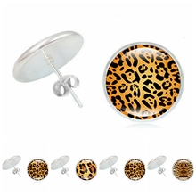 2019 New Accessories Leopard Girl Time Glass Dome Fashion Alloy Earrings Ladies Ear Jewelry