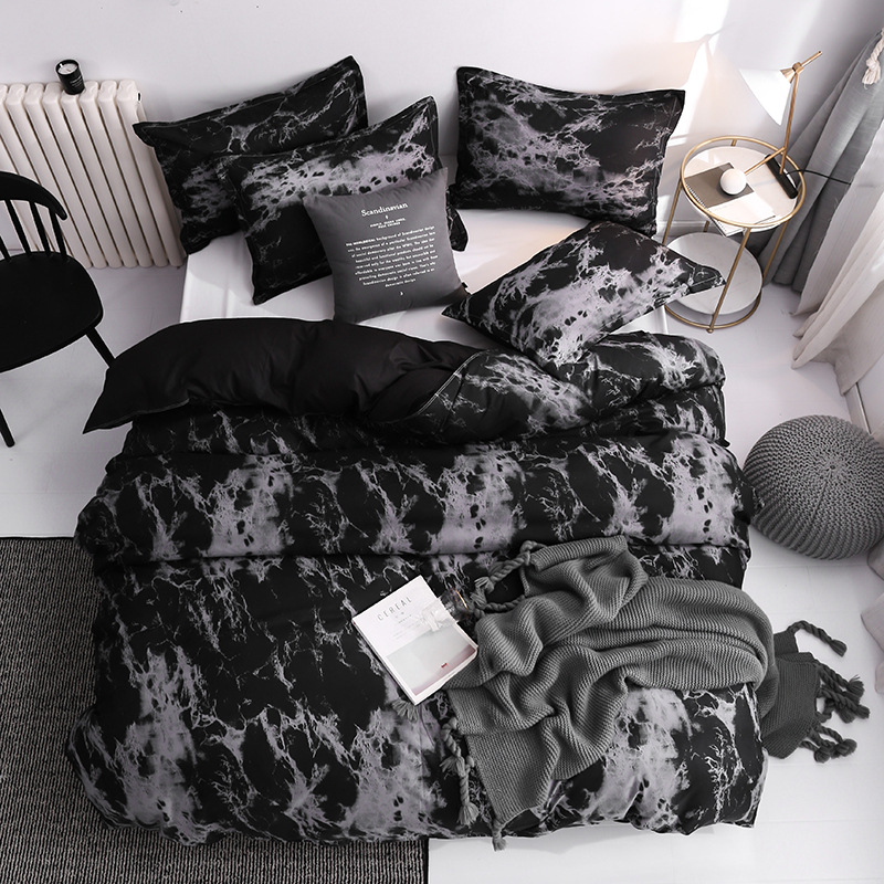 Cheap Bedding Set Single Geometric Duvet Cover Sets Pillowcases Comforter Covers Twin Full Queen King Size Black Grey