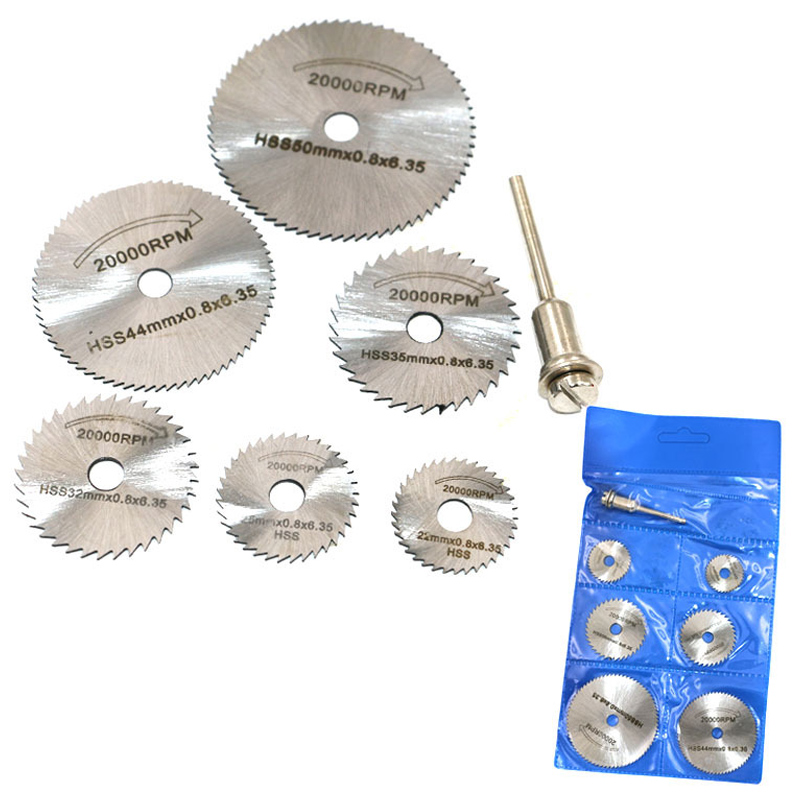 Disc Drill Blades And Mandrel Set 6pcs High Speed Steel Circular Saw Blades 1pcs 3.2mm Mandrel  WWO66
