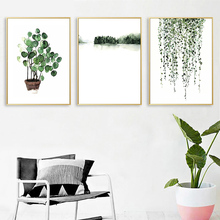 AMTMBS Scandinavian Style Tropical Plants Poster Green Leaves Decorative wall Picture Prints Modern Home Decoration canvas цена 2017