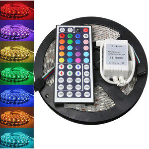 LED Strip Light 5M 5050 RGB SMD LED Waterproof Flexible Strip DC 12V 300 LEDs+44 Key IR Remote 718 new