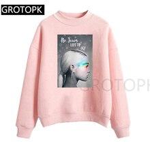 Ariana Grande Hoody Ladies Pink Autumn Casual Long Sleeve Ho