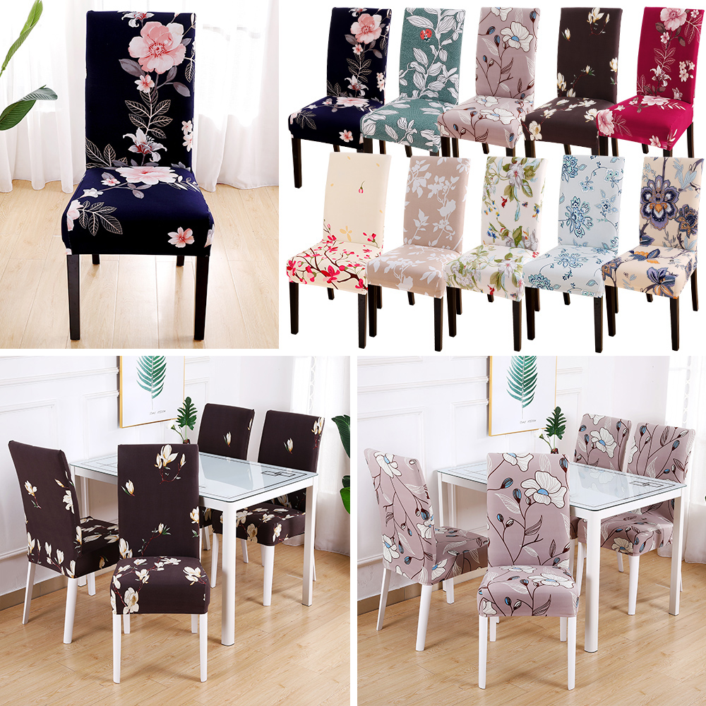 1/4/6PCS Floral Print Chair Covers Spandex For Wedding Dining Chair Cover Room Stretch Elastic Office Banquet