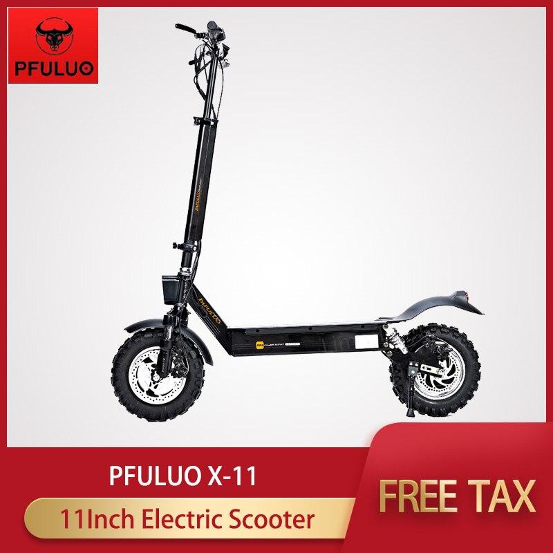 Original PFULUO X-11 Kickscooter 50 km/h tout-terrain Scooter électrique intelligent 48V 1000W moteur 11 pouces 2 roues Hoverboard planche à roulettes