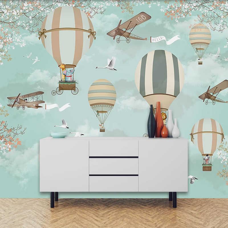 Niestandardowe 3D fototapeta dla dzieci pokój Cartoon balon na gorące powietrze pokoju dzieci chłopiec dziewczyna sypialnia dekoracje ścienne Mural Papel De parede