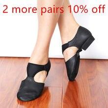Sandales en cuir véritable extensible avec arc pour femmes, chaussures de Jazz et de danse, baskets pour enseignant de Ballet, gymnastique
