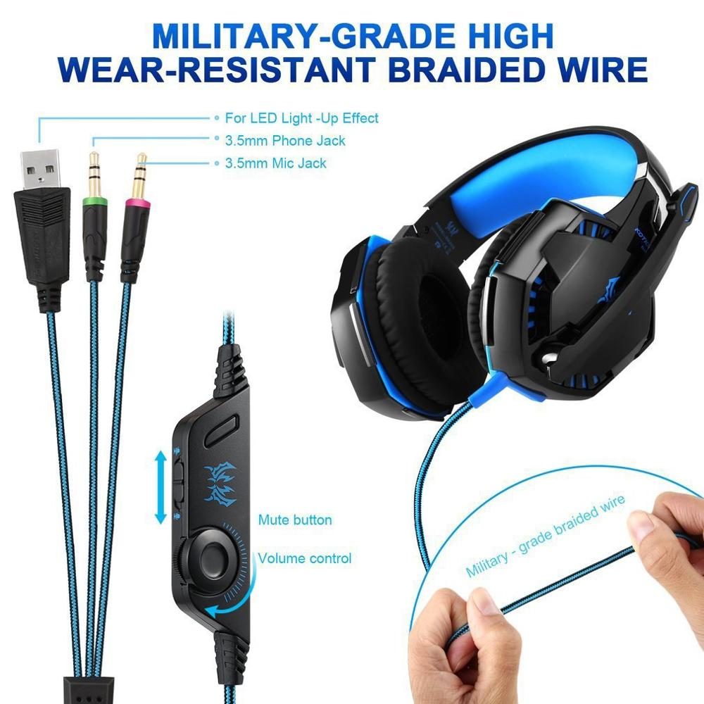 Gaming Headset With Mic For <font><b>G2000</b></font> Over-Ear Gaming Pro Headphone Headset Earphone Headband With Stereo Bass Noise Cancelling image