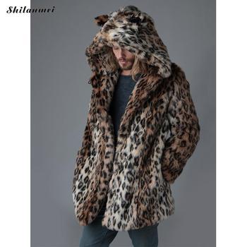 Plus Size Faux Fur Jacket For Men 4xl Long Style 2019 Winter Male Leopard Fur Jacket Hooded Fur Overcoat Warm Men Fur Outerwear