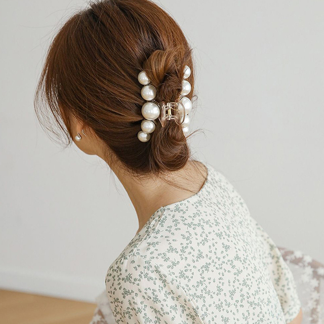Big Pearl Hair Claw For Women Ladies Makeup Hair Barrettes Hair Accessories Korean Cross Crab Hair Clip Fashion Girl Headwear 3