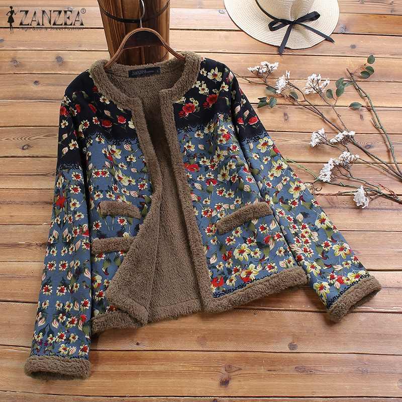 Plus Size ZANZEA Women Vintage Floral Printed Coats Winter Long Sleeve Plush Fluffy Jackets Autumn Outwear Open Front Chaqueta