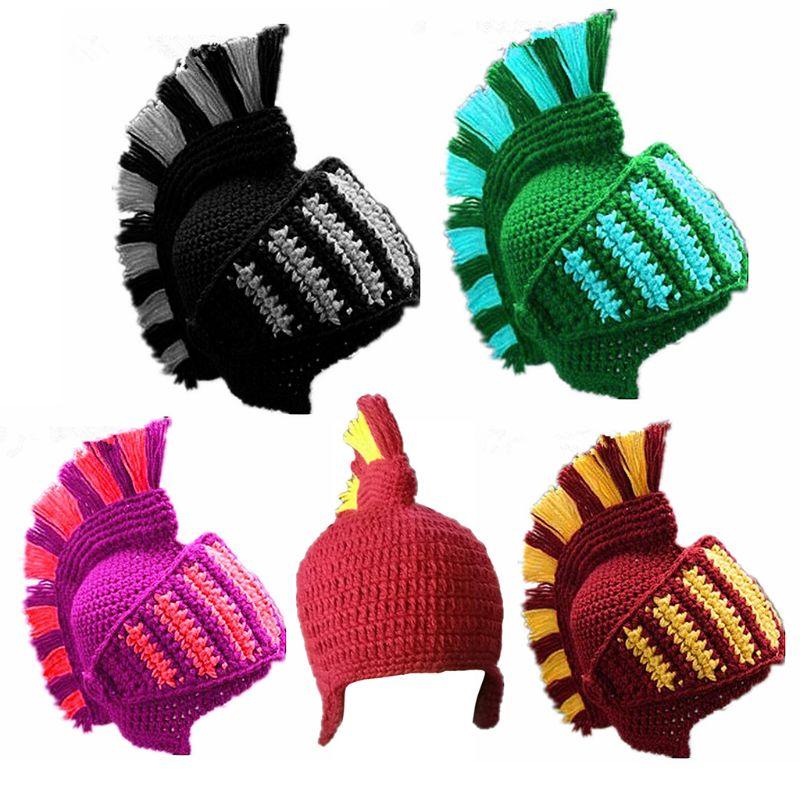 Унисекс смешной Римский Рыцарь шлем вязаная шапка контрастного цвета крючком Шапочка ушанка шапка с лицом костюмная Маска Косплей