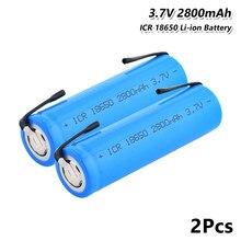 Batterie Rechargeable au Lithium, 3.7v, 2800 mah, 18650, pour jouets, feuilles Nickel, bricolage, 1 à 10 pièces