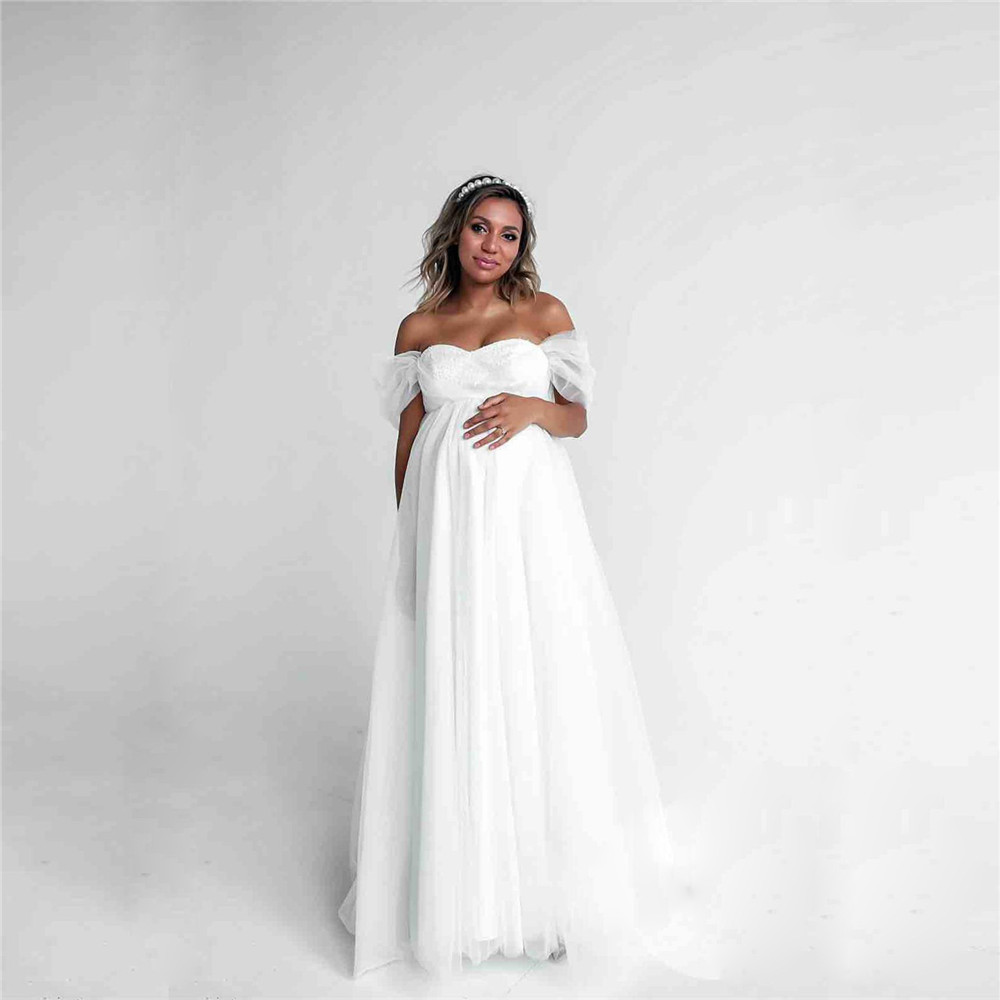 Shoulderless Sexy Maternity Dress Photo Shoot Long Pregnancy Dresses Photography Props Lace Chiffon Maxi Gown For Pregnant Women (1)