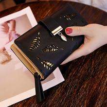 PinShang Women Hollow Out Leaf Long Clutch Purse Card Holder Bifold Leather