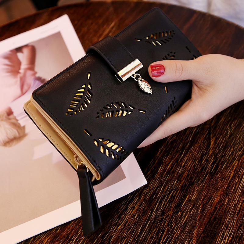 PinShang Women Hollow Out Leaf Long Clutch Purse Card Holder Bifold Leather Wallet