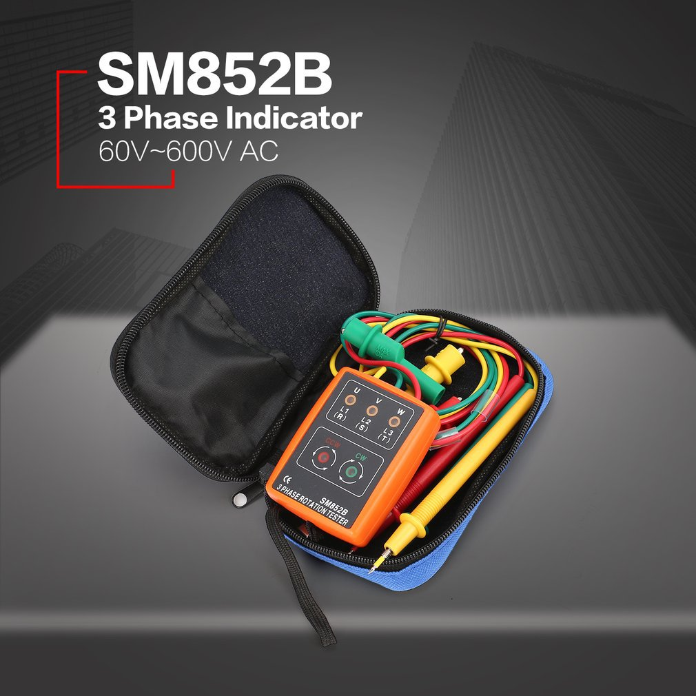 SM852B 3 Phase Rotation Tester Digital Phase Indicator Detector LED Buzzer Phase Sequence Meter Voltage Tester 60V~600V AC