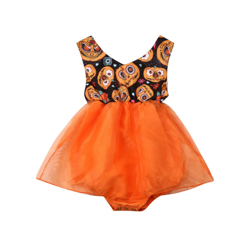 3-18M Halloween Newborn Infant Baby Girls Rompers Pumpkin Lace Tutu Jumpsuit Festival Costumes