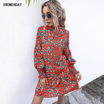 Dress Autumn Spring Long Sleeve Casual Red Floral Print Ruffle Loose Fitted Dresses For Women Trendy Fall 2020 Women Clothing foridol leopard print short ruffle spring autumn dress women casual v neck snake print loose dress long sleeve 2020
