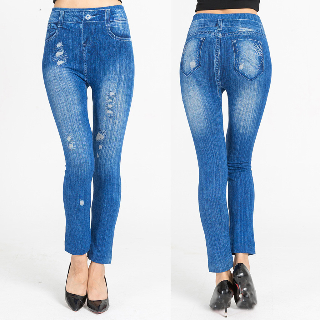 2020 women's jeans Casual Cotton high-waist printed imitation denim leggings hip elastic slim Pencil Tights Pants L0830