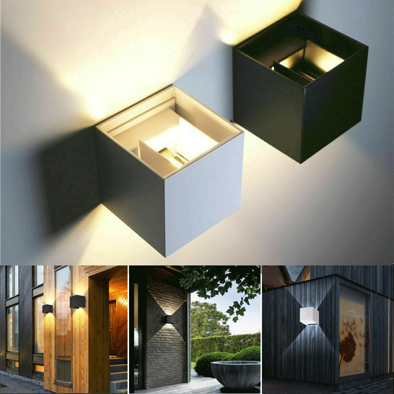 12W Modern LED Wall Light Up Down Cube Indoor Outdoor Sconce Lighting Lamp UK