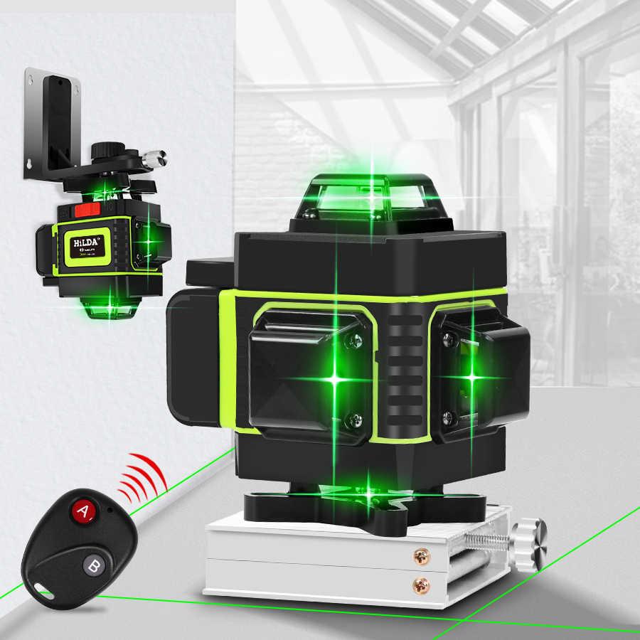 16 hatları 4D lazer seviyesi yeşil çizgi kendini tesviye 360 yatay ve dikey süper güçlü lazer seviyesi yeşil ışınlı lazer işaretleme makinesi seviyesi