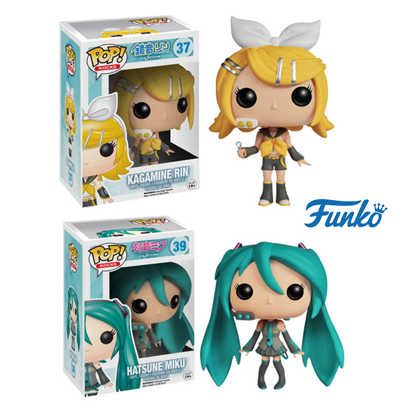 Funko Pop Hatsune Miku Kagamine Rin Vinyl Figures Doll Anime Hatsune Miku Action Figure Toys For OTAKU Christmas Birthday Gift
