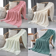 Tassel Knitted Wool Blankets Nordic Style Throw Blanket for Beds Solid Color Sofa Cover Towels Winter Warm Bedspread Office Nap