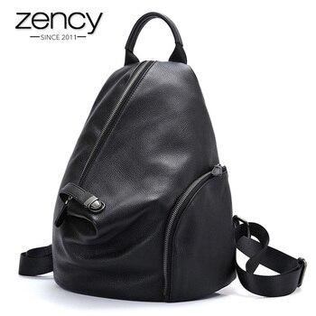 Женский Повседневный Рюкзак сумка store Zency из 100% натуральной кожи, классический черный школьный винтажный рюкзак высокого качества пляжный рюкзак тем...