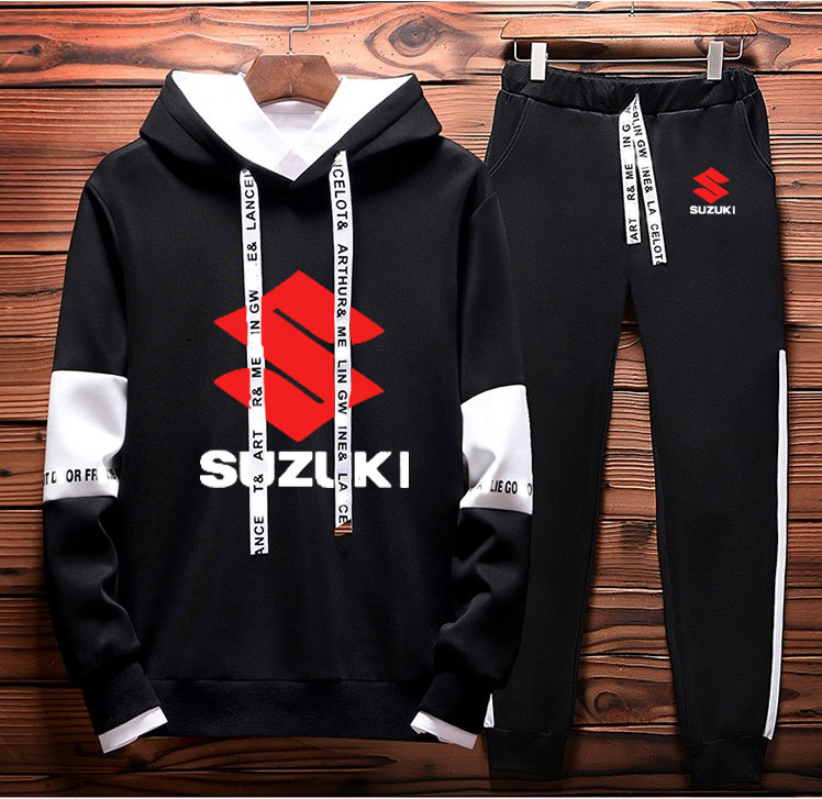 Hoodies Men Suzuki Car Logo Printed Sweatshirt Fashion Men Hoodie Hip Hop Harajuku Casual Fleece Hoodies Pants Suit 2Pcs