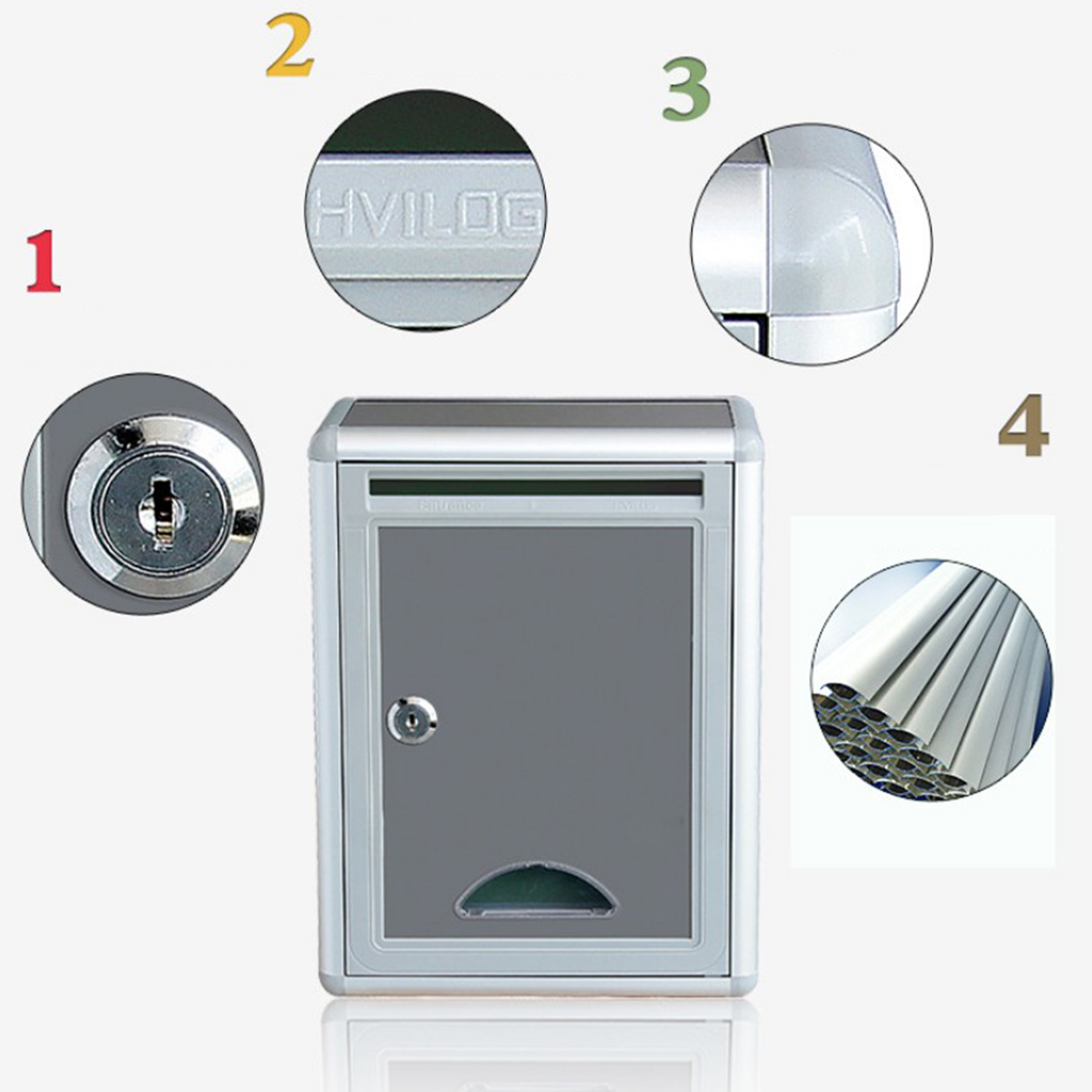 Lockable Mailbox Outside Fence Mounted Letter Box for Letter Newspaper Magazine