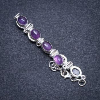 "Natural Amethyst Handmade Indian 925 Sterling Silver Bracelet 6 3/4-7 1/2"" S2077"