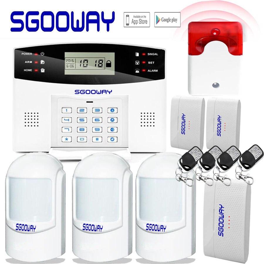 Gratis Pengiriman Sgooway Nirkabel Keamanan Rumah Gsm Alarm Sistem Remote Control Auto Dial Asap PIR Sensor Pintu Sirene Sensor Kit