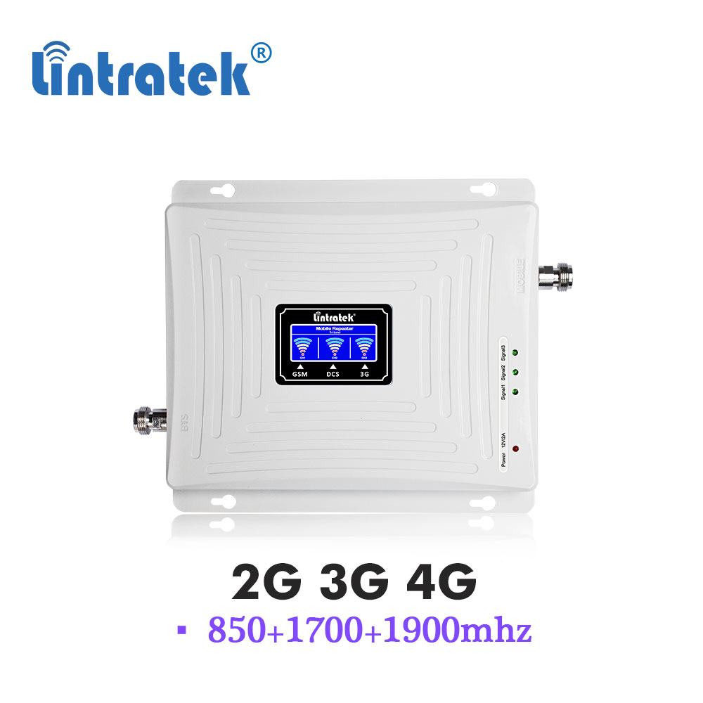 Lintratek 850 1700 1900 CPA Tri Band Repeater CDMA GSM 850mhz AWS B2 B4 3G 4G Cellular Mobile Phone Signal Amplifier Booster S9