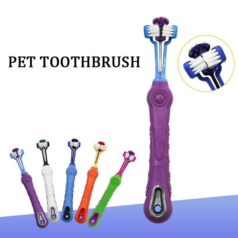 Hot Selling Three Sided Pet Toothbrush Dog Brush Addition Bad Breath Tartar Teeth Care Dog Cat Cleaning Mouth Dog Toothbrush