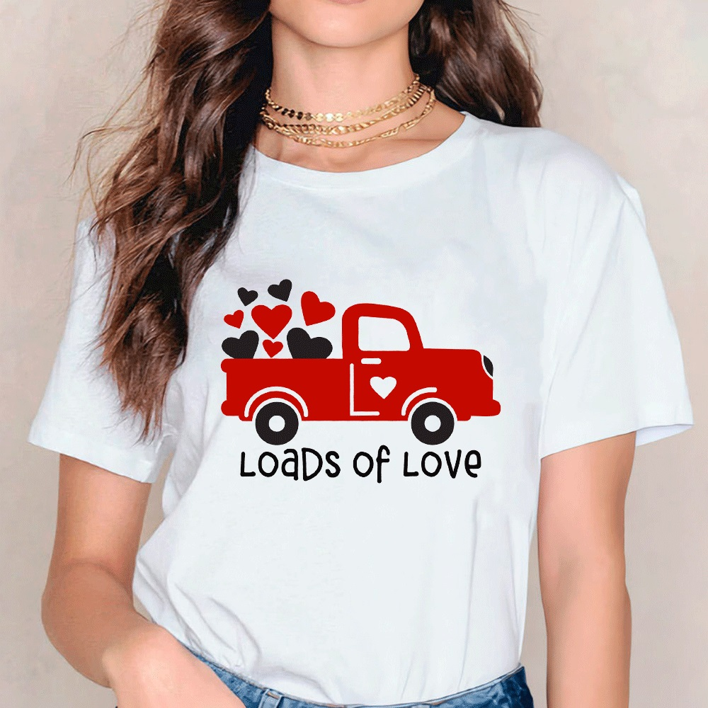 Load Of Love Colored Printed T-shirt Vintage Red Truck Valentines Tees Tops Funny Women Valentine's Day Gift Tshirt Outfits