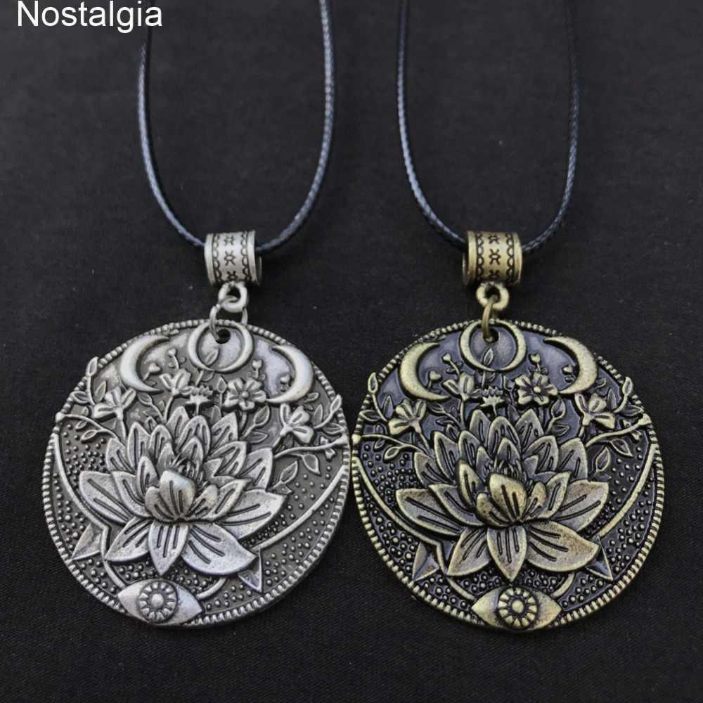 Wiccan Sun Moon Star ชายสร้อยคอผู้หญิง Mandala Lotus ดอกไม้ Wicca Witchcraft แม่มดเครื่องประดับสร้อยคอจิตวิญญาณเครื่องประดับ