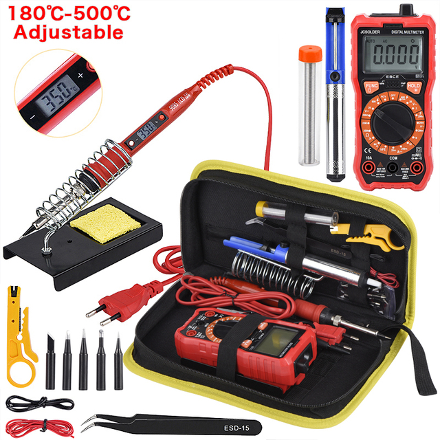 JCD Soldering iron kit with Digital Multimeter Auto Ranging 6000 counts AC/DC 80W 220V Adjustable Temperature welding solder tip