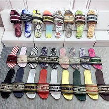 Slippers Women Flip-Flops Embroidery Casual Sandals Summer Flat-Bottomed Letters New