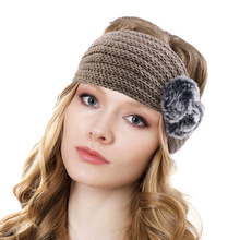 Winter Ear Warmer Headhand Women Fashion Knitted Hair Band Elegant Elastic Headwrap Wide Crochet Turban Hair Ball цена