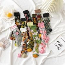 Chaussettes Harajuku en soie cristal, nouveau produit, chaussettes de marée, tournesols, vignes, fleurs, Happy Women, haute qualité