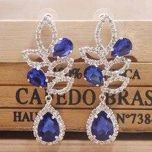 Elegant Royal Blue wedding /party earring silver shiny women rose gold champagne Zerong new rhinestone