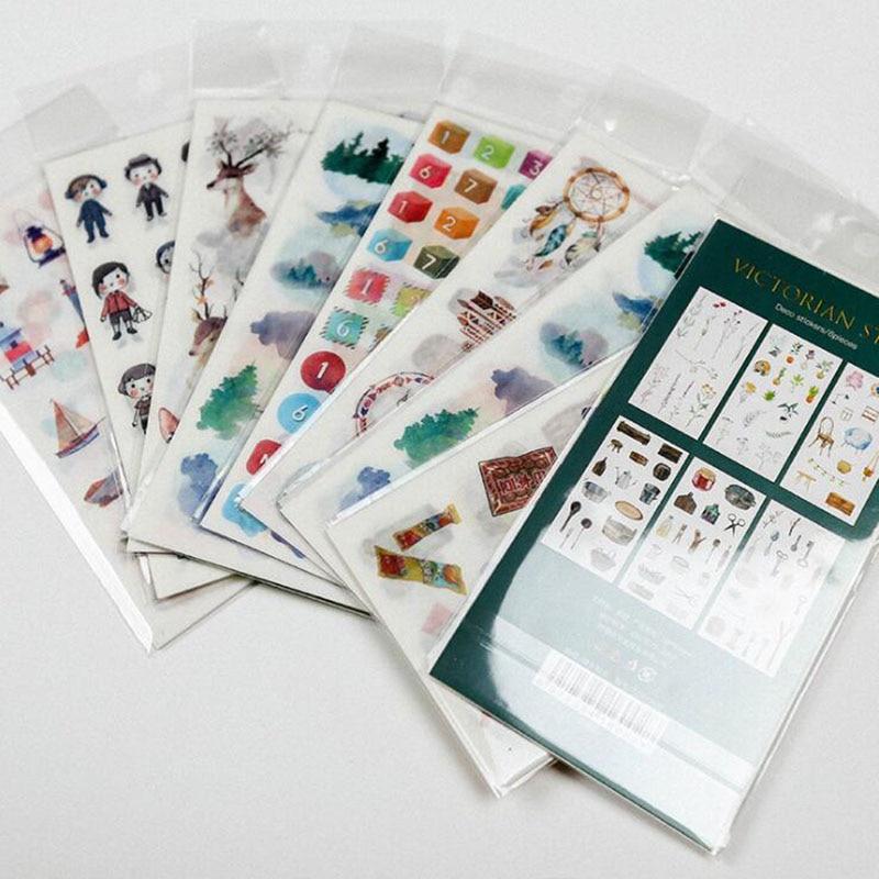 6 Hand Account Stationery Emoticon Package Creative Sticker Bag Korean Decoration Cartoon Transparent Exquisite Pvc Sticker