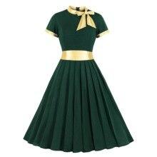Gold Patchwok Women Vintage Dress Bow Neck Green Pleated Dress Short Sleeves Office Midi Dress Party Wine Green High Waist Dress