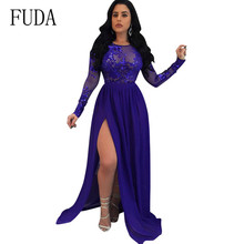 FUDA Lace Patchwork Hollow Out Backless Dresses Women Elegant Sequins Perspective Long High Split Breathable Party Dress