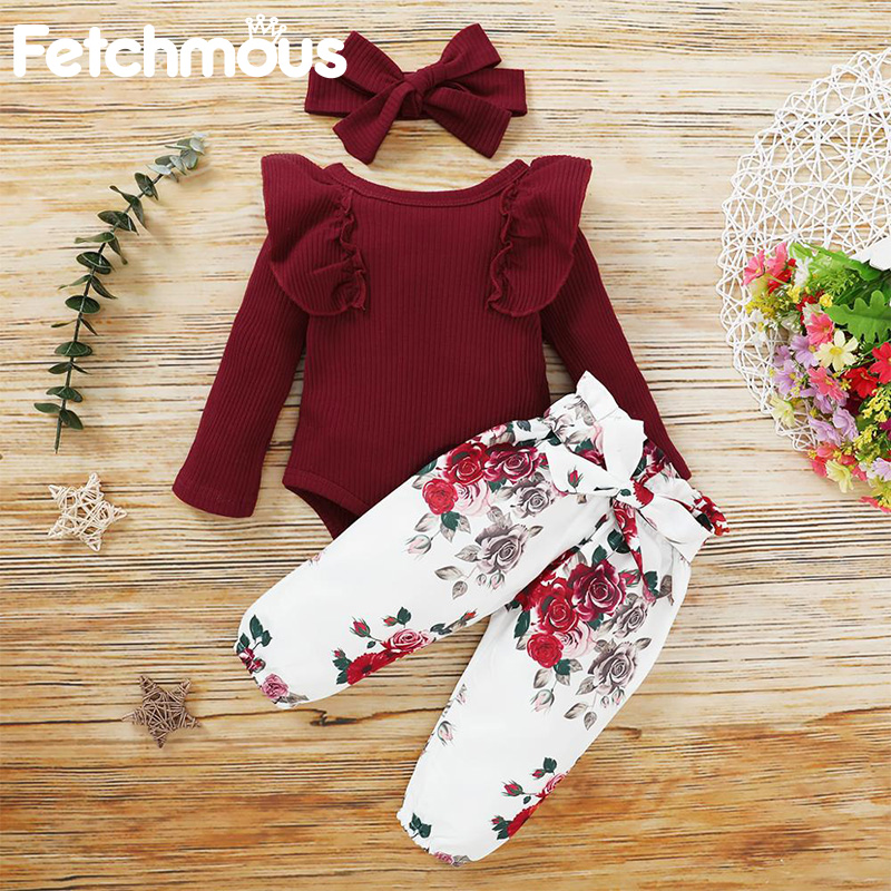 Baby Girl Clothes Set Cotton Newborn Long Sleeve Top+Pant+Hair Accessories Fashion Infant Toddler Girl Costume Ropa de bebes