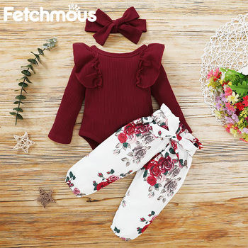 Baby Girl Clothes Set Cotton Newborn Long Sleeve Top+Pant+Hair Accessories Fashion Infant Toddler Costume Ropa de bebes - discount item  20% OFF Baby Clothing