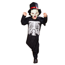 Scary Wizard Costume Cosplay Boys Halloween Costume For Kids Skeleton Magician Suit Carnival Party Dress Up m xl free shipping children s halloween costumes harry potter costume boys magician costume kids cosplay