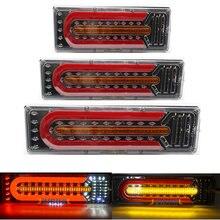24v Универсальный Водонепроницаемый автомобиль грузовик светодиодный задний фонарь Аварийные огни Задний фонарь потока рулевое тормоз зад...